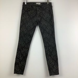 Free People Low Rise Skinny Jeans in Black Print